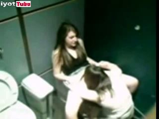 Lesbian fucking caught in girl restroom cubicle