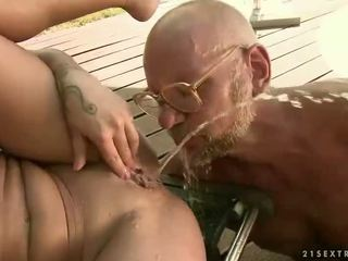 Girl enjoys hot sex with grandpa