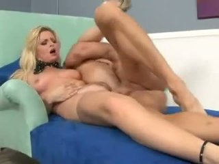 Horny MILF Bobbi Eden takes a hammering and a titful of cum