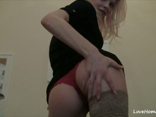 Raunchy Blonde Shows Tits and Her Shaved Pussy: HD Porn 5b