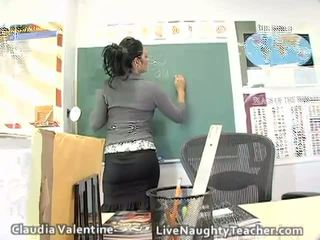 Hot brunette teacher in mini skirt and black lingerie