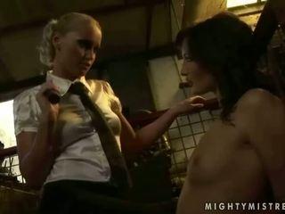 Classy mistress punishing young slavegirl
