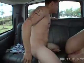 Sweet redhead banged doggy style in the bus