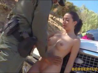 Pretty latin babe screwed at the border