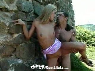 schön outdoor-sex, voll kleine brüste neu, im freien hq