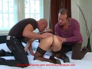 Hot Blonde Stacy Silver DP and gets Two Creampies on Ass