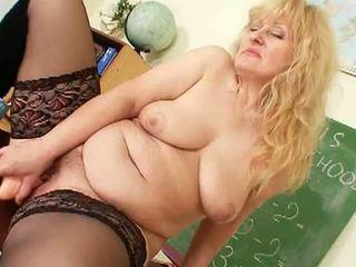 huge dildo, dildo, big natural tits, mature