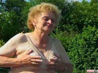 ouder, zien oma, hq buiten- neuken