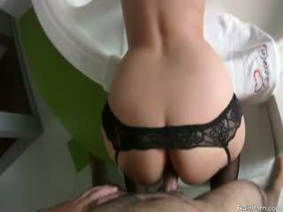 anaal, groot ezel, nylon scène