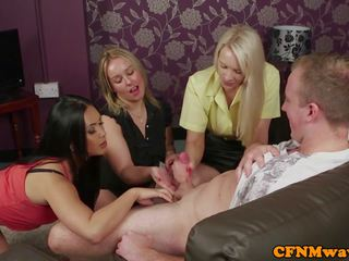 British Femdoms Tugging CFNM Subject in Group: Free Porn 30
