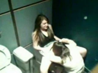 Lesbians Having Sex In Public Bathroom