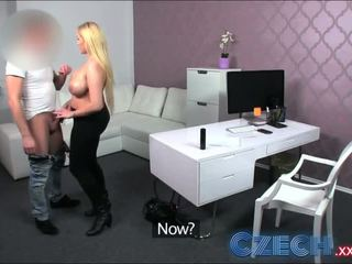 Czech Busty Blonde gets sprayed with spunk in Casting interview - Porn Video 251