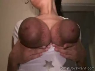 White Chick Milking Her Big Black Tits