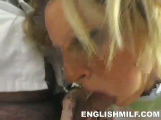 Hot English MILF amateur sucks huge boner