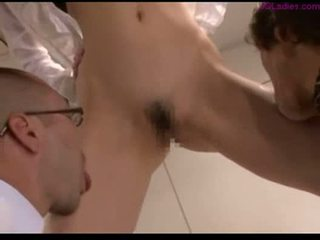 Office lady licked by 2 guys sucking cock fucked cum to ass