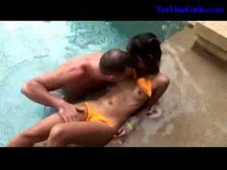 Thai girl in bikini getting her pussy licked fingered suckin
