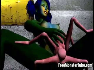 3D cartoon alien babe getting fucked hard by a spider