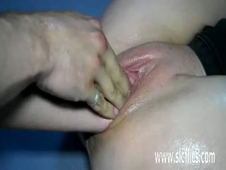 Teen slut double pussy fisting destruction
