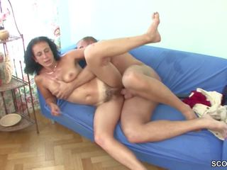 Young Boy Seduce Hairy Step-mom to get His First Fuck