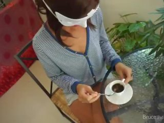 Stunning Girl does Blowjob, Cum in Coffee, Pee Play