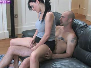 MILF in mini skirt gives amazing handjob