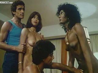 jahrgang, retro, lesbisch, interracial