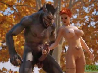 Trochę czerwony ujeżdżanie hood attacked & fucked przez 3d potwór werewolf w mystique forest. 3dx fairy ogon parodia