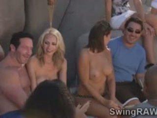 Birichina scambista couples avere selvaggia festa in il piscina