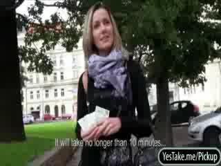 Czech slut Blanka Grain fucked and cum facialed for cash