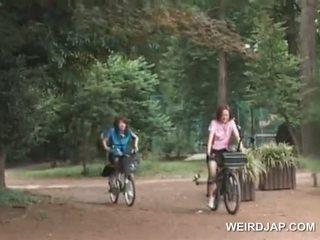 Asiática adolescente sweeties cabalgando bikes con dildos en su cunts
