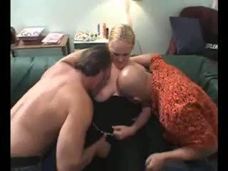 Blond bbw in bisex trio