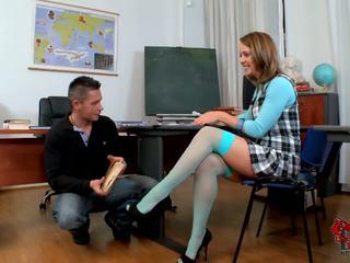 Schoolgirl makes him wild with her sexy feet in high heels.