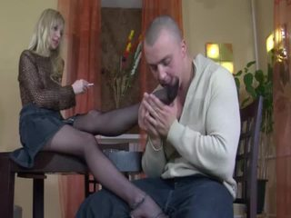 Blonde babe in stockings foot fetish and fucking