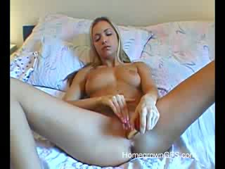 Amazing Blonde Alissa Uses toys In The Bed Room