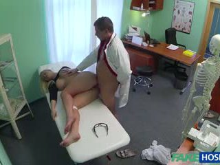 Doctor banged sex blonde in his cabinet.