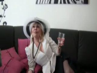 Mature in stockings fucked by 2 blacks cocks