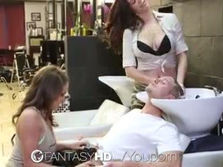 FantasyHD - Babes Lily and Holly have threesome at beauty salon