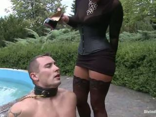 Ebony Haired Lady Sandra Romain Makes Love A Dude's Booty Alfresco All Over Strapon