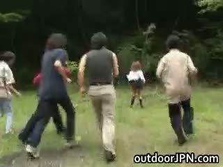 japanisch, interracial, öffentlichkeit