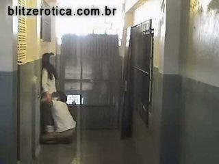 Spycam fucking brunette hidden in factory
