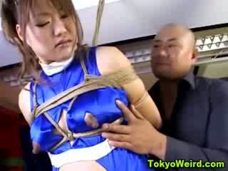 Preggo asian bound and milked