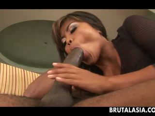 Asian chick brutalized with that giant black cock