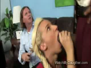 Filthy blonde daugther blows the black principal in front of daddy