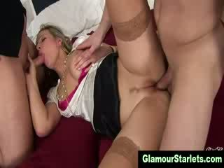 Classy Blonde bitch gets a internal jizz shot