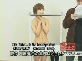 Subtitled japoneze quiz shfaqje me nudist japoni student
