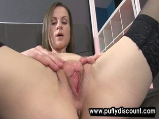 Passionate brunette plays with a small pussy pump