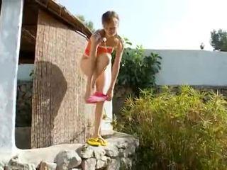 Peeing of beautiful russian cheerleader