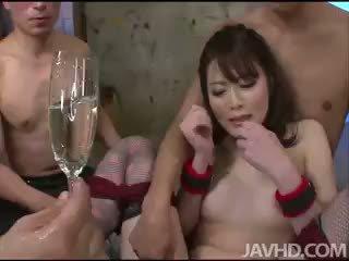 brunette, toys, group sex