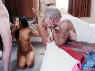 brunete, jauns, grupu sekss