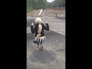 18 년 늙은 레깅스 공공의 park 재생 큰 바보 가슴 그녀 캠 에 18cams,org